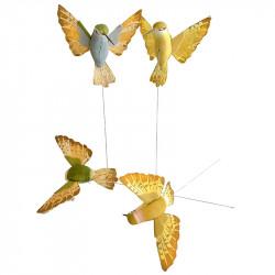 Kolibri på stålpinne, 12cm, Grön/Gul, 4st, konstgjorda djur