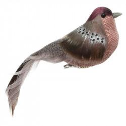 Fågel på klämma, röd, 15 cm, konstgjorda djur