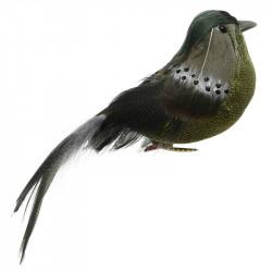Fågel på klämma, grön, 15 cm, konstgjorda djur