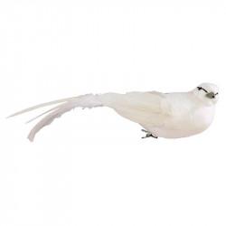 Fågel med klämma, Vit, 6x26 cm, konstgjorda djur