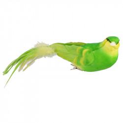 Fågel med klämma, 6x26cm, grön, konstgjorda djur