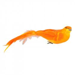 Fågel med klämma, 6x26 cm, orange, konstgjorda djur