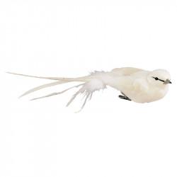 Fågel med klämma, 4x18 cm, vit, konstgjorda djur