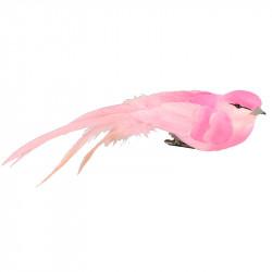 Fågel med klämma, 4x18 cm, rosa, konstgjorda djur