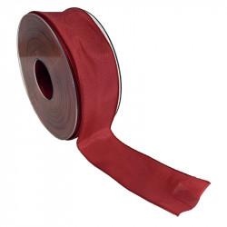 Dekorationsband med kanttråd - 40mm, Röd