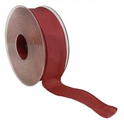 Dekorationsband med kanttråd - 25mm, Röd