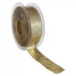 Dekorationsband med kanttråd - 25mm, Guld