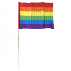Flagga på träpinne, regnbåge, H 76cm (flagga 31x45cm)
