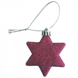 Julstjärna för upphängning, med glitter, rosa