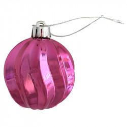 Julgranskula med räfflor för upphängning, rosa