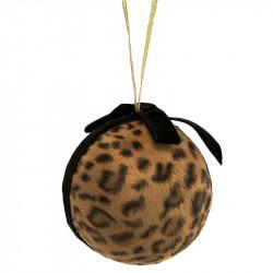 Julgranskula ljusbrunt leopardmönster, Ø 10cm