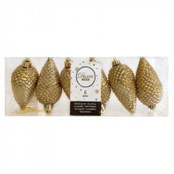 Grankottar, 8 cm med upphängning och glitter, i 6-pack, Var  guld
