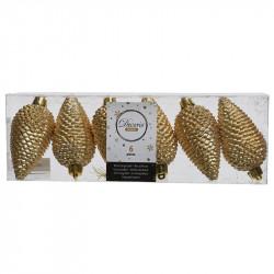 Grankottar, 8 cm med upphängning och glitter, i 6-pack, Guld