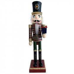 Nötknäpparfigur, 89 cm soldat med gåva