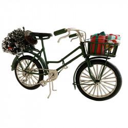 Cykel i järn med julgran till dekoration