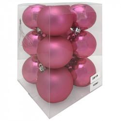 Julgranskulor, rosa, 6 cm, 12st./förpackning