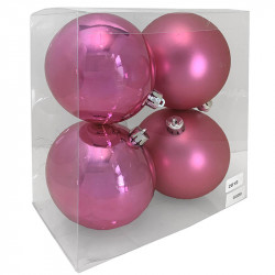 Julgranskulor, rosa, 10 cm, 4st./förpackning