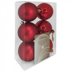 Julgranskulor, röd, 8 cm, 6st./förpackning