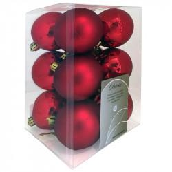 Julgranskulor, röd, 6 cm, 12st./förpackning