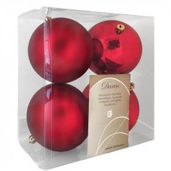 Julgranskulor, röd, 10 cm, 4st./förpackning