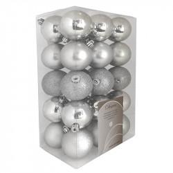 Julgranskulor, Silver-mix, 6 cm, 30 st./förpackning