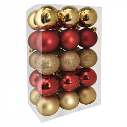 Julgranskulor mix Guld-Röd, 6 cm, 30 st./förpackning