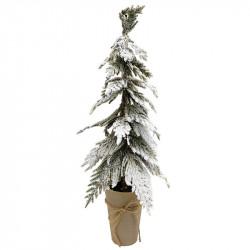 Mini-barrträd med snö i pappersomslag, 65 cm, konstgjord grn n