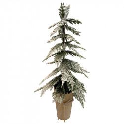 Mini-barrträd med snö i pappersomslag, 55 cm, konstgjord grn n