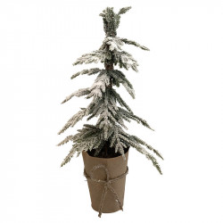 Mini-barrträd m snö i pap.somslag, plastgran, 45 cm, konstgj n