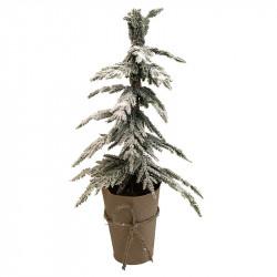 Mini-barrträd med snö i pappersomslag, 45 cm, konstgjord grn n