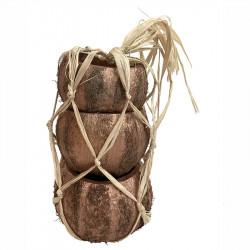 Kokosskål, natur och kopparsträck, 3 st.per paket