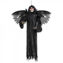 Skelett-demon med vingar och röda, glödande ögon