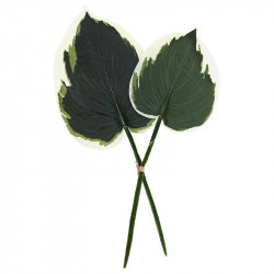 Hostablad, 2 st, grön&vit, konstgjorda blad