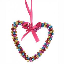 Hjärta m multifärgade pärlor och rosa upphängninssnöre