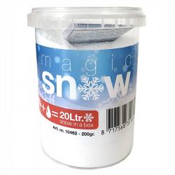 Magisk snö, pulver blandas med vatten och blir torr snö