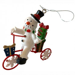 Julgranshänge, jultomte på cykel m paket