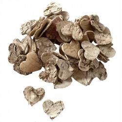 Hjärtan i bark till dekoration, 3,5cm