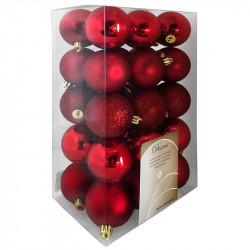 Julgranskulor, Röd mix, 6cm, 30st./paket