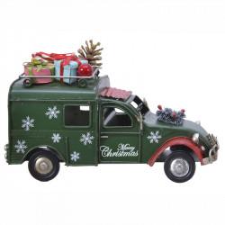 Bil med pakker og kogle til dekoration,  Grøn