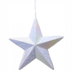 Stjärna i hårdskum m hänge, vit, 40x40cm