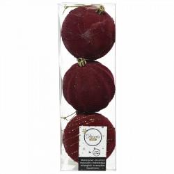 Julgranskulor i Bordeaux m guldtrådsmönster 3 st./paket