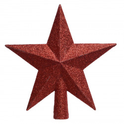 Julgranstjärna med glitter, 19cm Röd