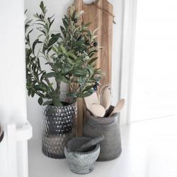 Olivträd, 2 stammar 60 cm i svart kruka, konstgjord växt