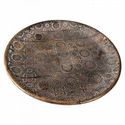 Rund skål i metall, brons med mönster, Ø30cm