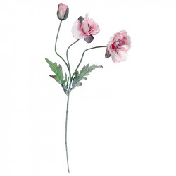 Vallmo, 2 blommor, 1 stängd, rosa, 70cm, konstgjord blomma