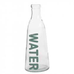 Glasflaska med text: WATER