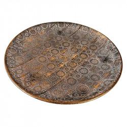 Rund skål i metall, brons med mönster, Ø40cm