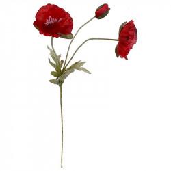 Vallmo, 2 blommor, 1 stängd, röd, 70cm, konstgjord blomma